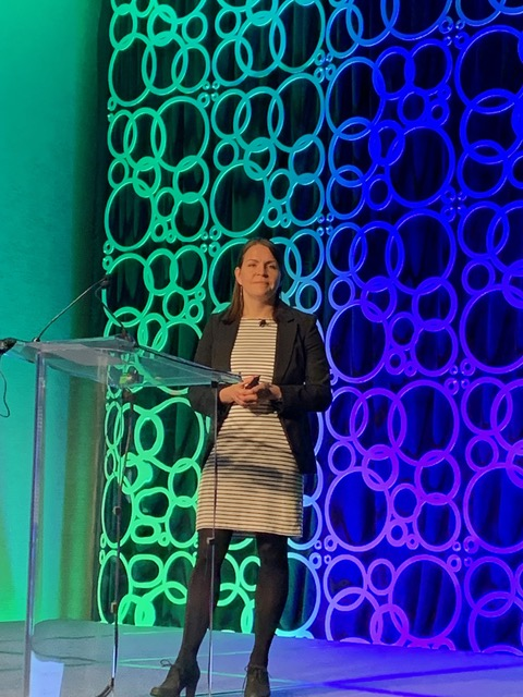 Dr. Sarah Taylor, staff scientist at 10X Genomics – an iReceptor Plus partner – presenting at the Antibody Engineering and Therapeutics meeting.